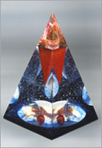 Red Spike sculpture - unique art glass pyramid
