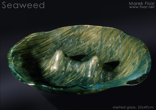 Seaweed bowl - painted glass plate.