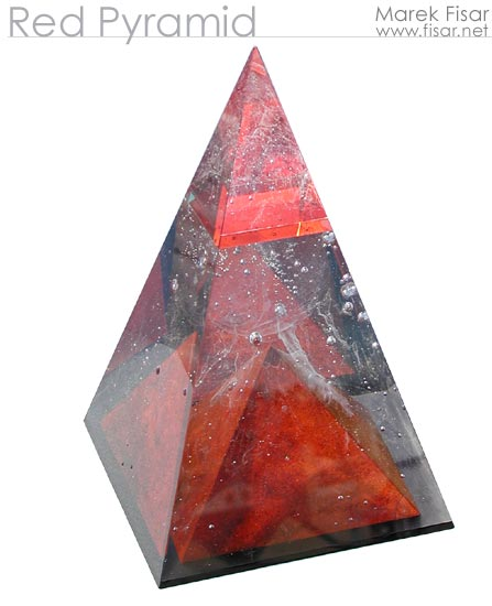 Red Pyramid - original glass sculpture for sale. Click to see detail!