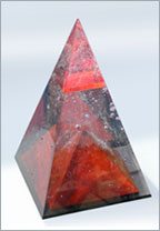 Red Pyramid - sculpture - unique art glass pyramid