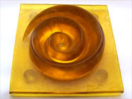 Yellow Spiral - glass sculpture. Uniqueart gift sale