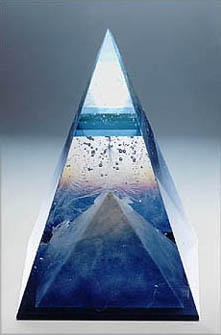 White Top Pyramid - glass sculpture